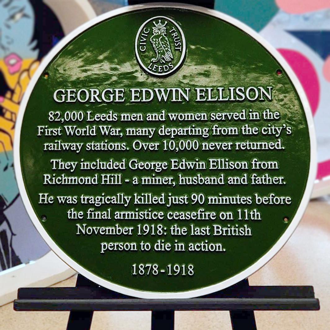 George Edwin Ellison green memorial plaque, Leeds City Railway Station